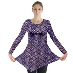 Hexagon1 Black Marble & Purple Marble (r) Long Sleeve Tunic  by trendistuff