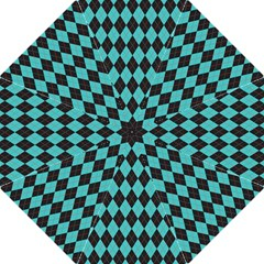 Tumblr Static Argyle Pattern Blue Black Golf Umbrellas by AnjaniArt