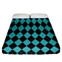 Tumblr Static Argyle Pattern Blue Black Fitted Sheet (california King Size) by AnjaniArt