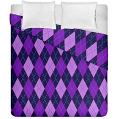 Tumblr Static Argyle Pattern Blue Purple Duvet Cover Double Side (california King Size) by AnjaniArt