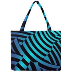Turtle Swimming Black Blue Sea Mini Tote Bag by AnjaniArt