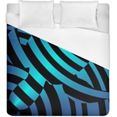 Turtle Swimming Black Blue Sea Duvet Cover (king Size) by AnjaniArt