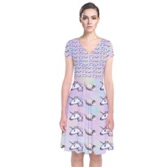 Tumblr Unicorns Short Sleeve Front Wrap Dress