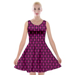 Webbing Woven Bamboo Pink Velvet Skater Dress by AnjaniArt