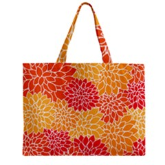 Vintage Floral Flower Red Orange Yellow Zipper Mini Tote Bag by AnjaniArt