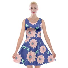 Seamless Blue Floral Velvet Skater Dress by AnjaniArt