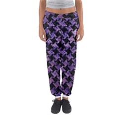 Houndstooth2 Black Marble & Purple Marble Women s Jogger Sweatpants by trendistuff