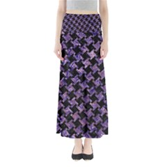 Houndstooth2 Black Marble & Purple Marble Full Length Maxi Skirt by trendistuff