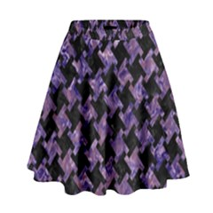 Houndstooth2 Black Marble & Purple Marble High Waist Skirt by trendistuff