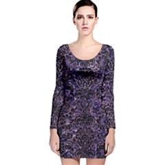 DMS2 BK-PR MARBLE (R) Long Sleeve Velvet Bodycon Dress by trendistuff