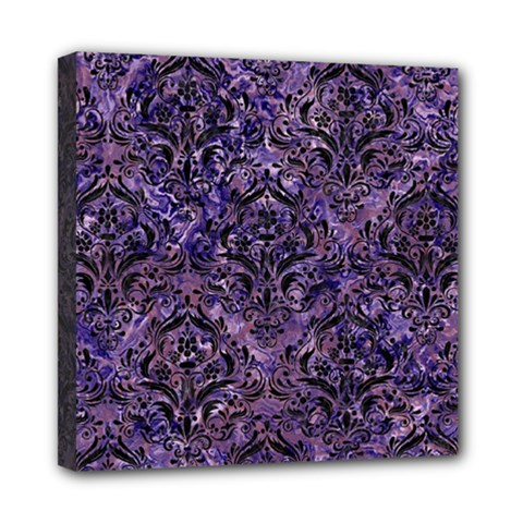 Damask1 Black Marble & Purple Marble (r) Mini Canvas 8  X 8  (stretched)