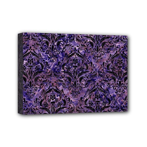 Damask1 Black Marble & Purple Marble (r) Mini Canvas 7  X 5  (stretched) by trendistuff