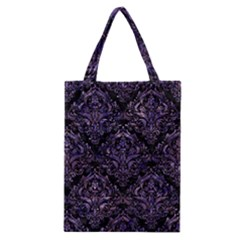 Damask1 Black Marble & Purple Marble Classic Tote Bag by trendistuff