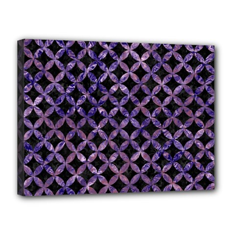 Circles3 Black Marble & Purple Marble Canvas 16  X 12  (stretched) by trendistuff