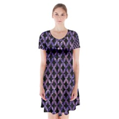 Circles3 Black Marble & Purple Marble Short Sleeve V Neck Flare Dress