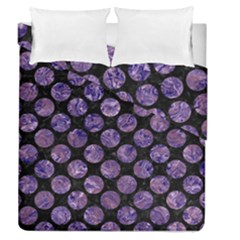 Circles2 Black Marble & Purple Marble Duvet Cover Double Side (queen Size)