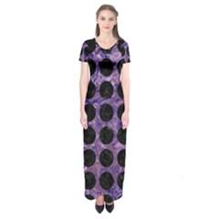 Circles1 Black Marble & Purple Marble (r) Short Sleeve Maxi Dress