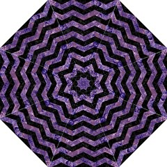 Chevron3 Black Marble & Purple Marble Folding Umbrella by trendistuff