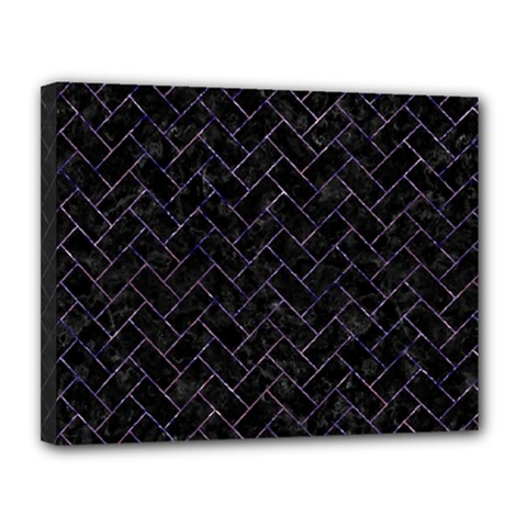 Brick2 Black Marble & Purple Marble Canvas 14  X 11  (stretched) by trendistuff