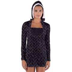 Brick2 Black Marble & Purple Marble Long Sleeve Hooded T Shirt by trendistuff