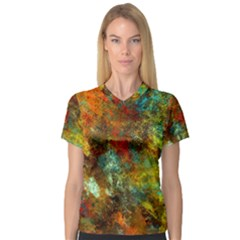 Mixed Abstract Women s V Neck Sport Mesh Tee by digitaldivadesigns