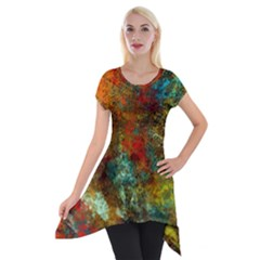 Mixed Abstract Short Sleeve Side Drop Tunic by digitaldivadesigns