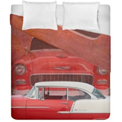 Classic Car Chevy Bel Air Dodge Red White Vintage Photography Duvet Cover Double Side (california King Size) by yoursparklingshop