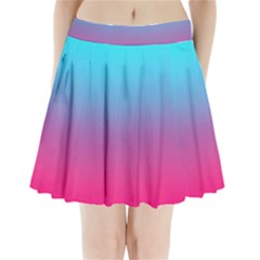 Blue Pink Purple Pleated Mini Skirt by Jojostore