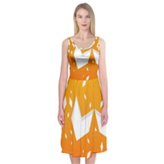 Cute Orange Copy Midi Sleeveless Dress
