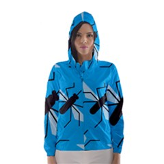 Mosquito Blue Black Hooded Wind Breaker (women) by Jojostore