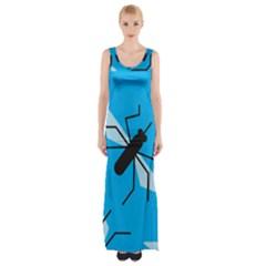 Mosquito Blue Black Maxi Thigh Split Dress by Jojostore
