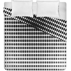Dark Circles Halftone Black White Copy Duvet Cover Double Side (king Size) by Jojostore