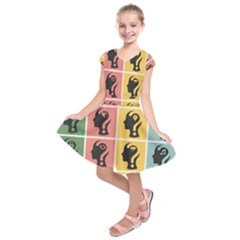 Question Face Think Kids  Short Sleeve Dress
