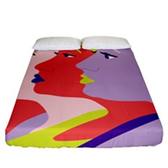 Three Beautiful Face Copy Fitted Sheet (california King Size)