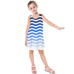 Water White Blue Line Kids  Sleeveless Dress by Jojostore