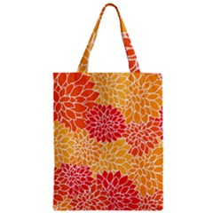 Vintage Floral Flower Red Orange Yellow Zipper Classic Tote Bag by Jojostore