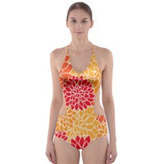 Vintage Floral Flower Red Orange Yellow Cut Out One Piece Swimsuit by Jojostore