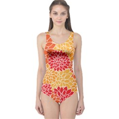 Vintage Floral Flower Red Orange Yellow One Piece Swimsuit by Jojostore
