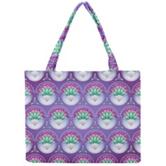 Background Floral Pattern Purple Mini Tote Bag by Amaryn4rt