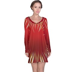 Color Gold Yellow Background Long Sleeve Nightdress