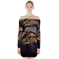 Fractal Mathematics Abstract Long Sleeve Off Shoulder Dress by Amaryn4rt