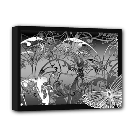 Kringel Circle Flowers Butterfly Deluxe Canvas 16  X 12   by Amaryn4rt