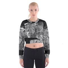 Kringel Circle Flowers Butterfly Women s Cropped Sweatshirt