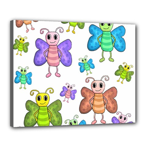 Colorful, Cartoon Style Butterflies Canvas 20  X 16  by Valentinaart