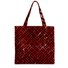 Woven2 Black Marble & Red Marble (r) Zipper Grocery Tote Bag by trendistuff