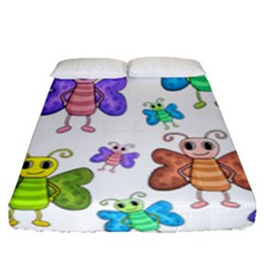 Colorful, Cartoon Style Butterflies Fitted Sheet (queen Size) by Valentinaart