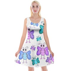 Cute Butterflies Pattern Reversible Velvet Sleeveless Dress