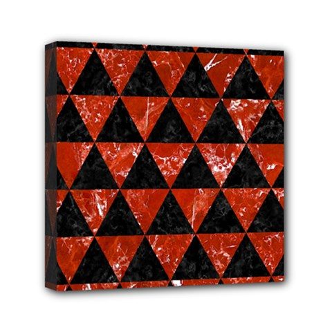 Triangle3 Black Marble & Red Marble Mini Canvas 6  X 6  (stretched) by trendistuff