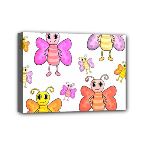 Cute Butterflies Pattern Mini Canvas 7  X 5  by Valentinaart