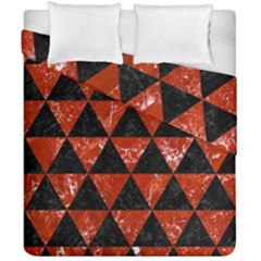 Triangle3 Black Marble & Red Marble Duvet Cover Double Side (california King Size) by trendistuff
